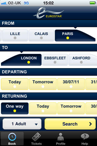 Eurostar mobile app